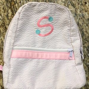 "Mint small seersucker backpack with ""S"" monogram"